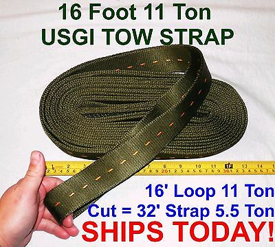 16 / 32 Ft USGI Tow Strap 11 / 5.5 Ton 4x4 Truck Tractor Farm Towing