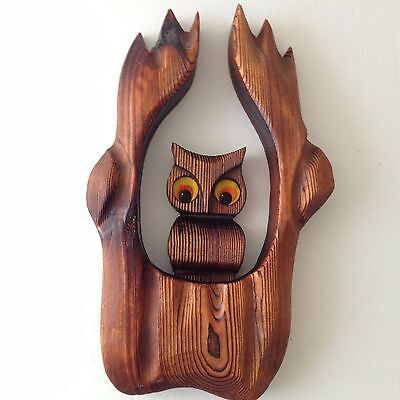 Cryptomeria Owl Wall Art Home Decor Wood Carved Flame Motif Mid Century Retro