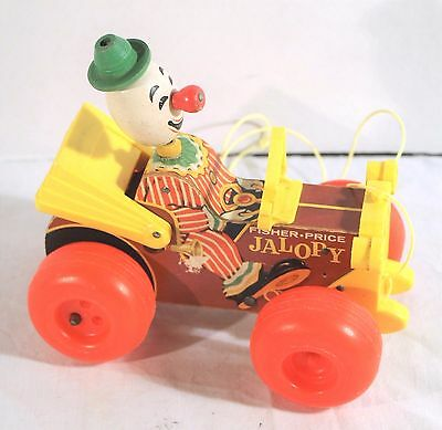 Vintage Fisher Price Jalopy Bobble Head Wooden Circus Clown Car Pull Toy
