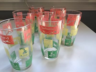 lot of 7 vintage 8oz novelty tumblers