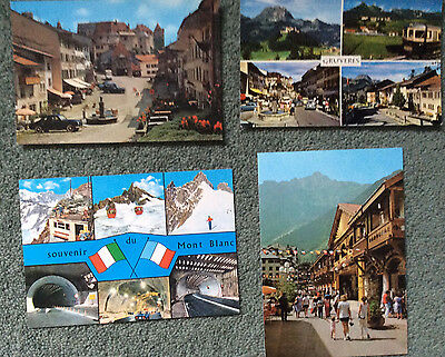 SWITZERLAND; GRUYERES LOT OF 4 POSTCARDS older images; cars, tramway cablecaretc