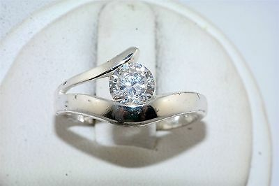 Contemporary CZ Cubic Zirconia Sterling Silver Ring