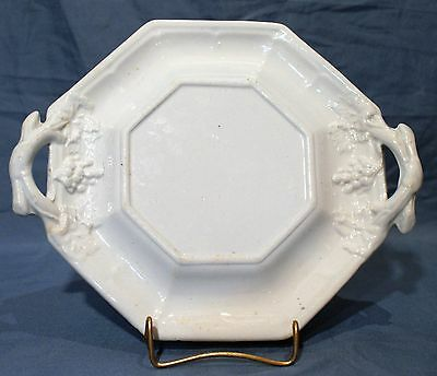 8-Sided, White Ironstone Undertray, Pattern is GRAPE OCTAGON