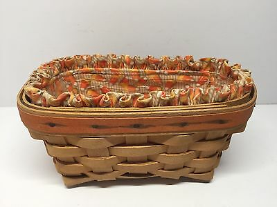 Longaberger 1999 Candy Corn Basket with Liner Protector Halloween