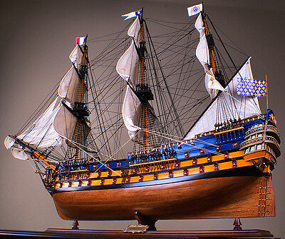 "ROYAL LOUIS 42"" wood model ship historic French tall sailing boat"