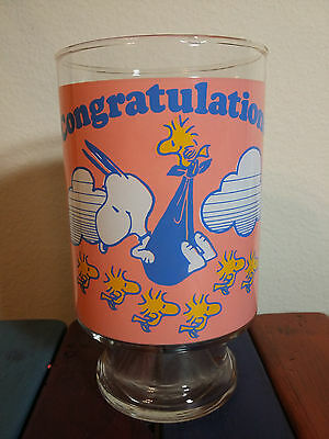 Snoopy And Woodstock Congratulations New Baby 1965 United Feature Synd Glass Cup