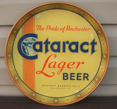 """Vintage Cataract Lager Beer 12"""" Metal Tin Litho Tray Cataract Brg Rochester Ny"""