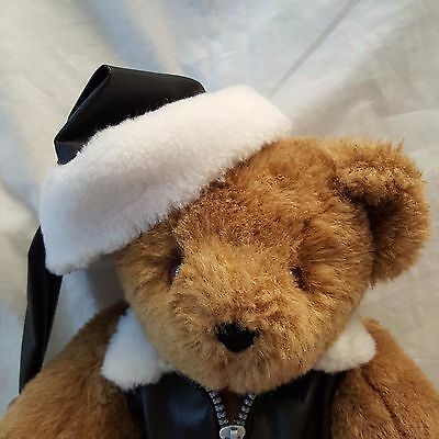 """VERMONT TEDDY Bear Jointed MOTORCYCLE Jacket """"Born to Give"""" CHRISTMAS Hat Plush"""