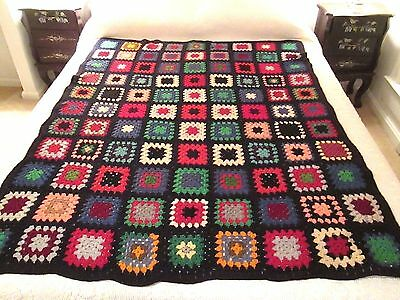 """Granny Square Afghan Hand Crocheted Black & Multi-Color Throw Blanket 50 by 64"""""""