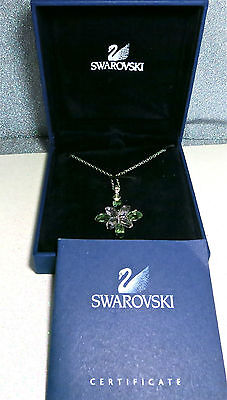 Signed Swarovski Pink Green Crystal Star Snowflake Pendant w Box & Certificate
