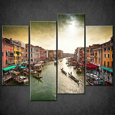 Venice Grand Canal Boats Cascade Canvas Wall Art Print Picture Ready To Hang