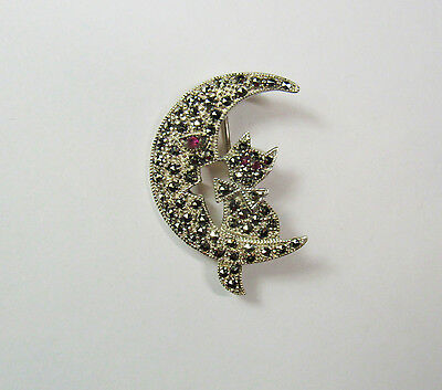 Sterling Silver CAT Kity Kitten Crescent Moon Marcasite Pin Brooch Red Stone