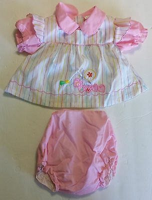 Vtg MAYFAIR Candy Hearts Baby Girl 2 Pc Outfit Apron Shirt Rubber Lined Bloomers