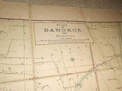 BANGKOK & District Plan Fold Out Map on Linen 1918 Royal Survey Siam Thailand