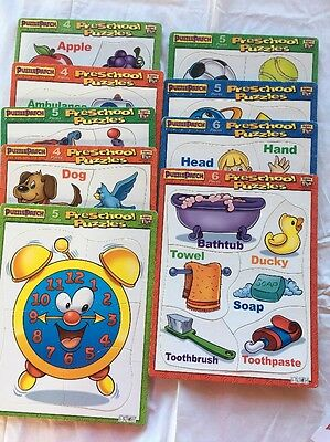 Lot Of 9 Framed Tray Puzzle Patch Preschool Puzzles