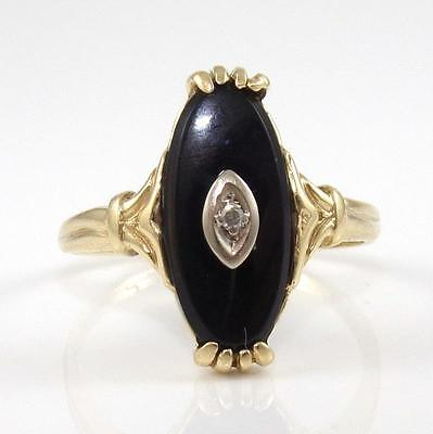 Vintage Solid 10K Yellow Gold Black Onyx Diamond Accent Ring Size 8.25