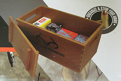 Realtree Large Wooden Ammo Box w/ Handles, New! Gun Accessory Storage Case Wood
