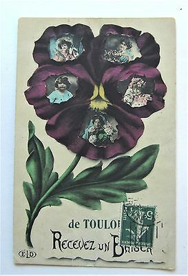 GIRLS & Women in Big Purple PANSY Fantasy French Postcard