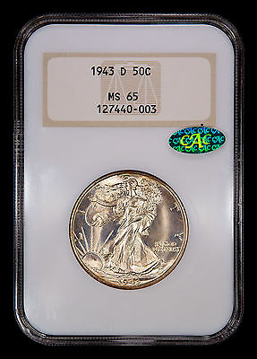 1943-D Walking Liberty Half Dollar NGC MS-65 CAC Old Fatty Holder with Gold Logo