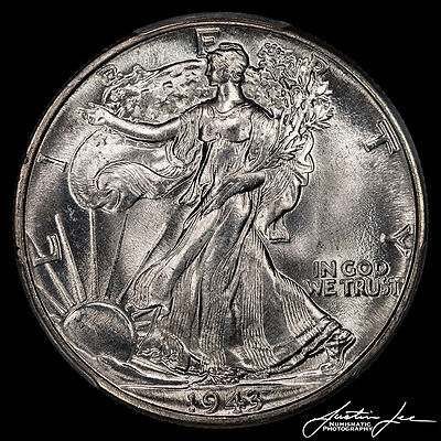 1943 Walking Liberty Half Dollar PCGS MS-66 with amazing luster
