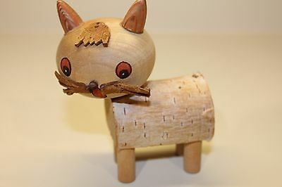 """Vintage Hand Made Wooden Russian Fat CAT with Stamp KOTNK 1972 RARE! 4"""""""