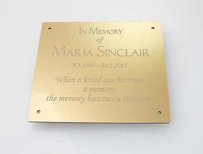 Gold Silver Black Effect Personalised Engraved Memorial Plaque 127mm x 114mm