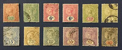 CEYLON 1886 SG N. 245-262 USED EXCEPT ONE OF THE TWO 6c. MLH*, 75c. PAPER FLAW