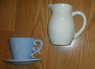 Coffee Cup / Teacup And Milk / Creamer Pitcher Pottery 2 Piece Wall Pocket Set