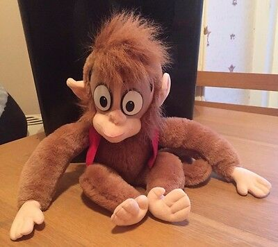 "Disney Official Vintage 1992 Aladdin Abu 17"" Plush Monkey With Vest & Fez Rare!"