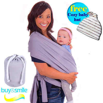 Super Soft Baby Sling Wrap Carrier Natural Cotton (GRAY)-Free Adorable Baby Hat