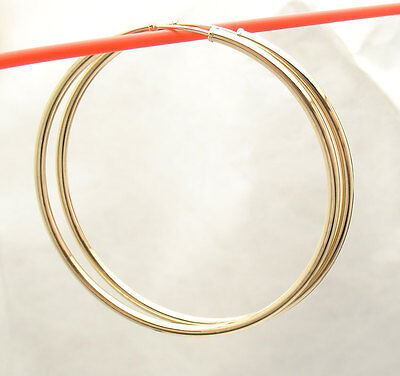 "2mm X 50mm 2"" Large Plain Shiny Endless Hoop Earrings REAL 14K Yellow Gold"