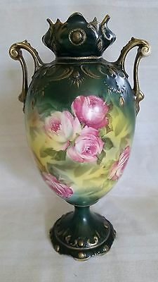 """Antique RS Prussia Hand Painted Porcelain Vase Roses and Gold 9"""""""