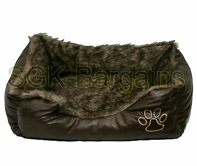 Brown LARGE Rex Leather & Fur Puppy Pet Dog Cat Nesting Bed Mat Basket Washable