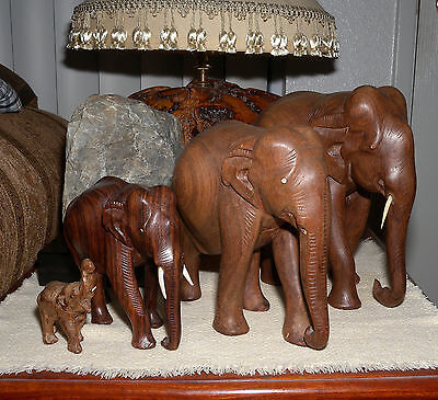 Hand Carved Solid Wood Elephant Lot of Four (4) India Free Shipping