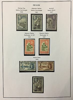 Ceylon 1940/47 Kgvi 8Val. Perforation Variety, Surcharged Ecc.used Not So Common