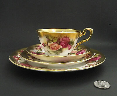 """Golden Rose  Royal Chelsea 4  Pc Place Setting Tea Cup Saucer 6"""" 8"""" Plate"""