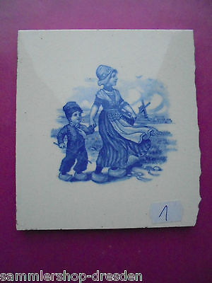 21069-1 Kachel Holländer Frau Kind SOMAG Fliese t tile   very good Teichert