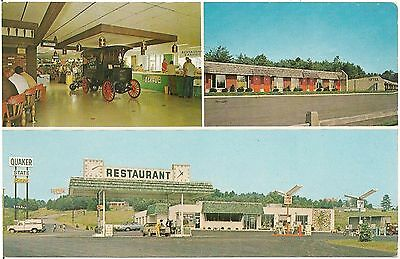 Quaker State Plaza in Emlenton PA Multiview Postcard Gas Pumps
