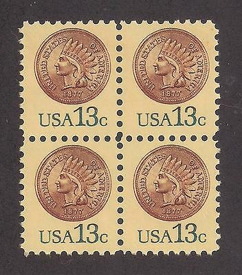 1877 Indian Head Penny - Block Of 4 U.s. Postage Stamps - Mint Condition