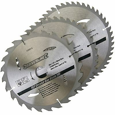3 Circular Mitre Saw Blades 205mm Diameter 30mm Bore 25 18 & 16mm Bushes 408979