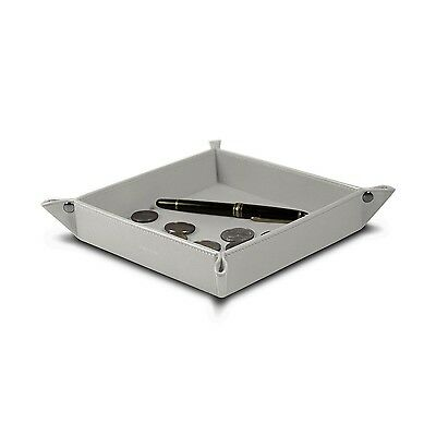 Lucrin - Square Tidy Tray - White - Smooth Leather
