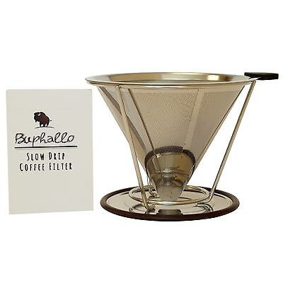 Buphallo Stainless Steel Pour Over Cone Coffee Dripper  Reusable Permanent Pa...