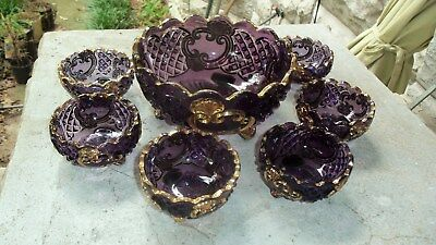 1891 Eapg Riverside Glass Croesus Amethyst And Gold Berry Bowl 6  Sauce Dishes