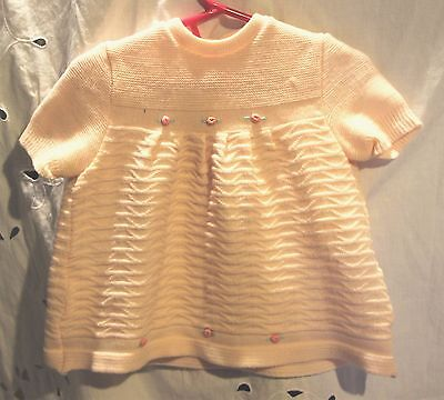 Vintage 1950s Pink Short Sleeve Sweater Girls' Size 18 Months