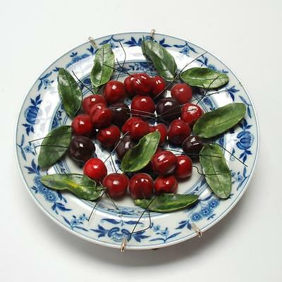 "Christine Viennet French Art Pottery Trompe L'oeil Plate ""cherries"""