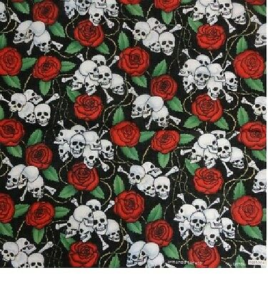 "Skulls & Roses Bandana  22"" x 22"" 100% Cotton  ""NEW"""