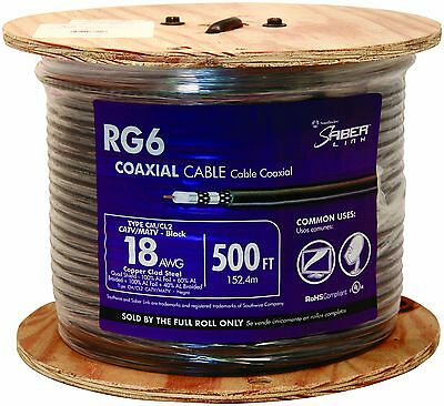 Southwire 56918445 500-Feet Quad Shields Type RG 6/U 18 AWG Coaxial Cable Black