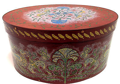 Large Vintage 1973 Wilton-Lee Hand Painted Colonial Folk Art Bentwood Shaker Box