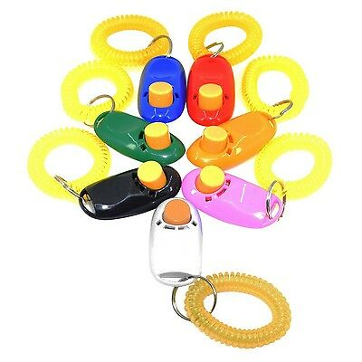 DLAND 7 Colors Button Clicker with wrist band for Dogs Clicker Training-7 Pack
