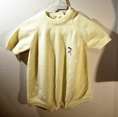 Vintage Renzo Yellow Short Sleeve Sweater One Piece Size 6-9 Months